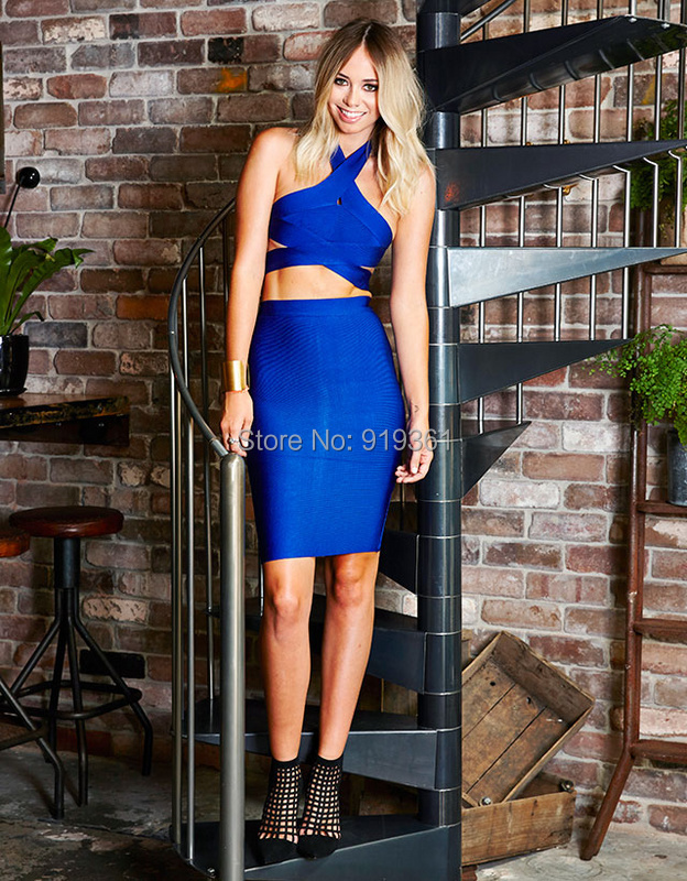 2015 blue halter two piece bandage Dresses HL bodycon dress Casual vestidos