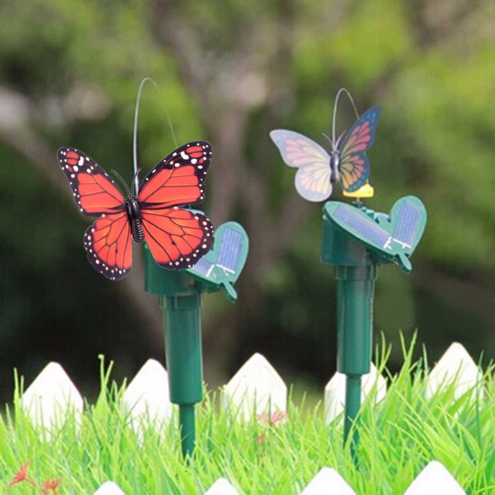 Environmental Hot Solar Powered Dancing Flying Butterfly Garden Decoration Color At Random Garden Supplies(China (Mainland))