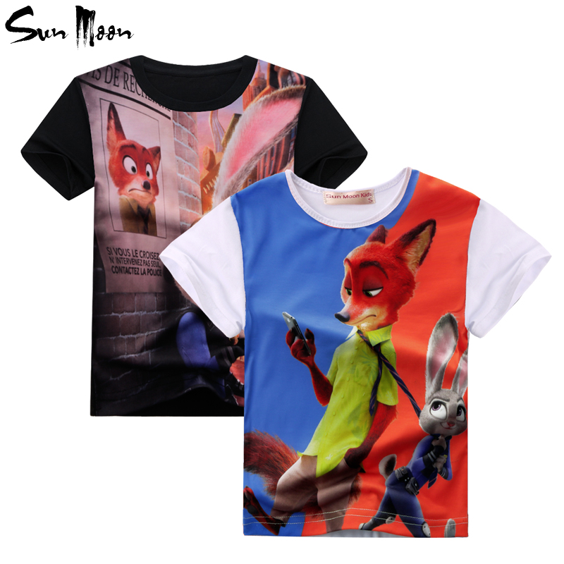 2-10 Year minions t shirt cotton boys clothing Nick Wilde baby girls clothes casual children t shirts short sleeve tops tees(China (Mainland))