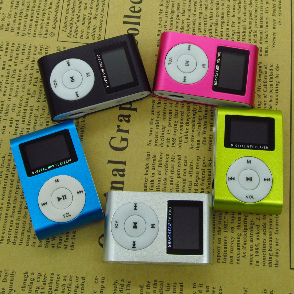 Sport MP3 Music Player with LCD Screen/Metal Mini Clip Metal Multicolor Portable MP3 Player with Micro TF/SD Card Slot(China (Mainland))