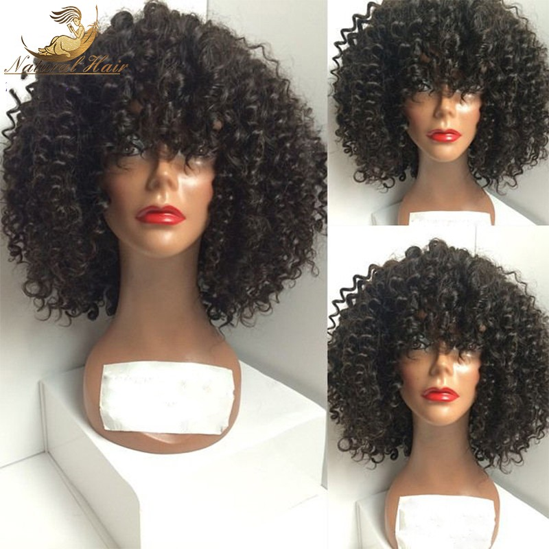 180 Density Brazilian Virgin Hair Afro Kinky Lace Front Wigs Glueless Human Hair Front Lace Afro Kinky Curly Wig For Black Women
