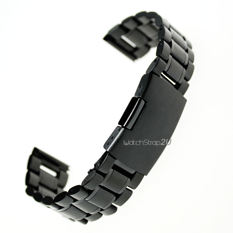 Black Stainless Steel Solid Links Watch Band Strap Bracelet Straight End 18mm,20mm,22mm,24mm - strap 2U store