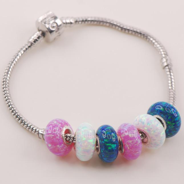 15mm White Blue Pink Fire Opal Solid  925 Sterling Silver beads Fit Charm Bracelet Pendant Wholesale Jewelry Free Shipping<br><br>Aliexpress