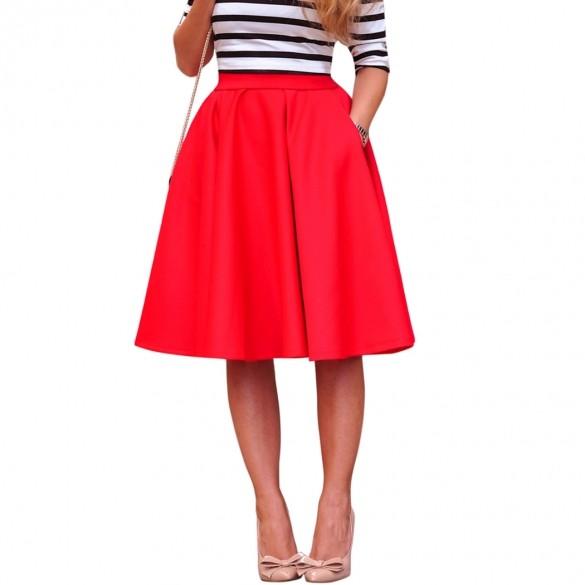 Women Fashion Summer Autumn A Line Pleated Midi Skirts ...