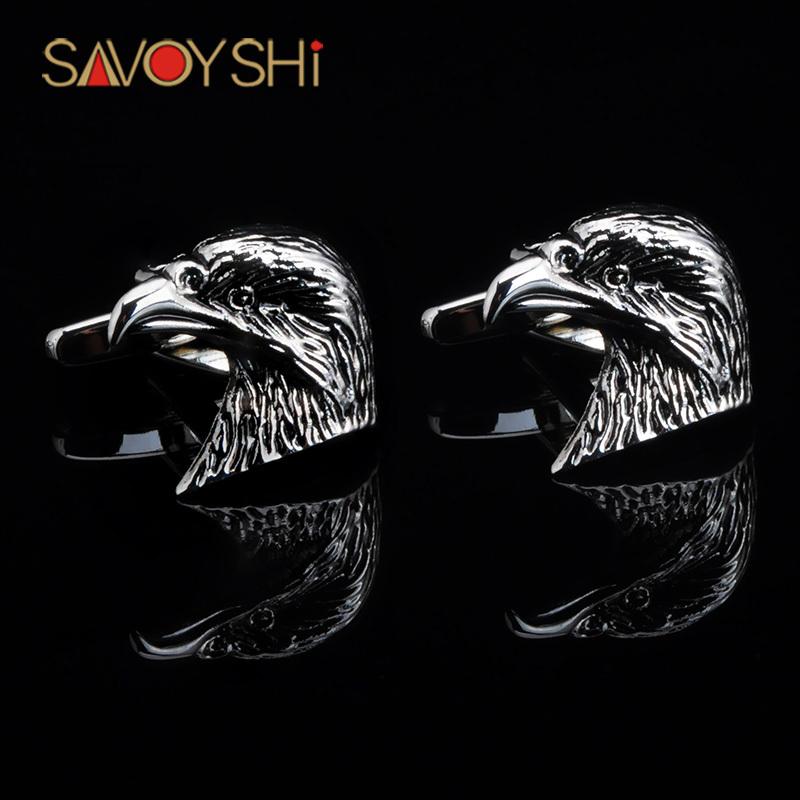 SAVOYSHI Fancy Cuff Links New Silver Black Eagle Head Cufflinks For Men Shirt Free Shipping(China (Mainland))