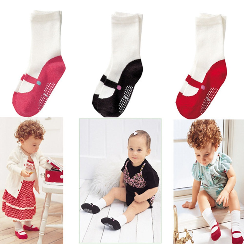 High Quality Baby's Gifts 3 Colors Lovely Mini Foot gear Baby Kids Non-slip Floor Ballet Girls Socks for 0-1.5 years old baby(China (Mainland))