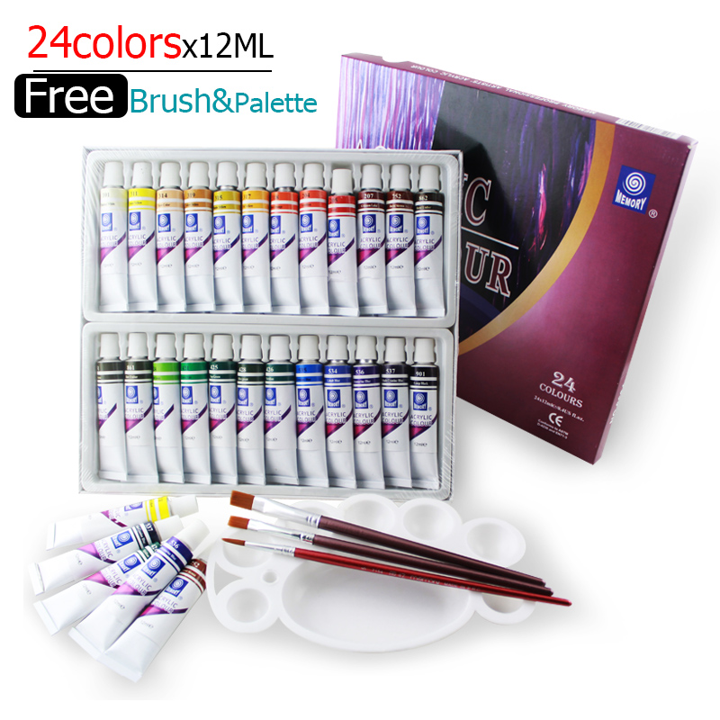 Water-resistant 24 Colors 12ML Tube Acrylic Paint set color Nail glass Art Painting paint for fabric Drawing Tools For Kids DIY(China (Mainland))