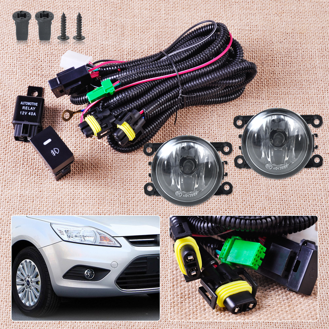 Wiring Harness Sockets + Switch + 2 H11 Fog Lights Lamp 4F9Z-15200-AA for Ford Focus Mustang Honda CR-V Acura TSX Nissan Sentra(China (Mainland))