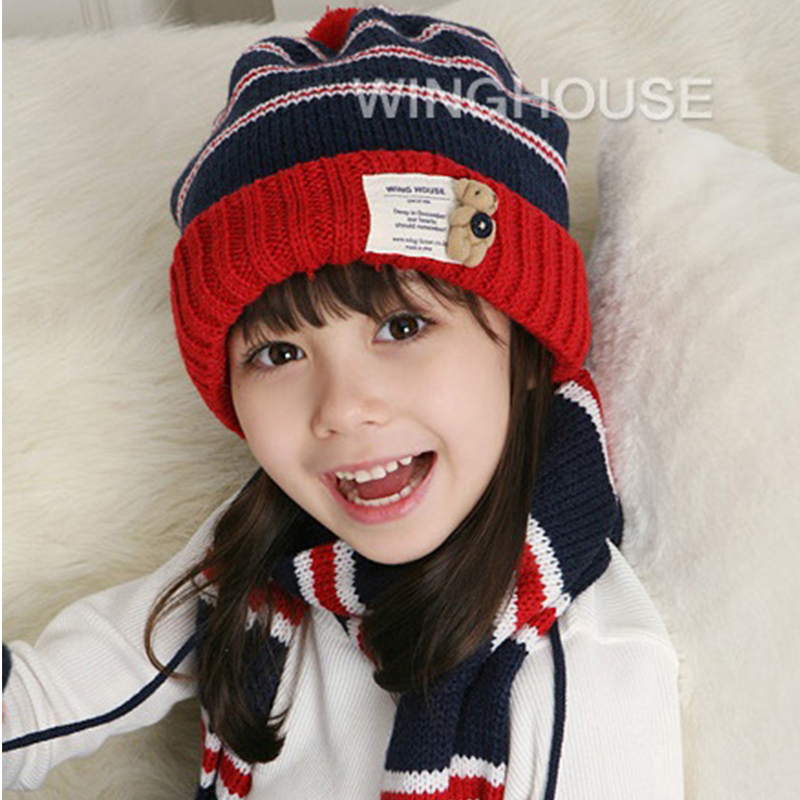 Twinset 2016 New Warmly Autumn Winter Cap Baby Hats Boys Girls Beanies Handmade Crocheted Children Hat and Scarf Glove Sets(China (Mainland))