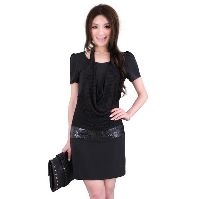 Women's summer black plus size short-sleeve dress slim skirt