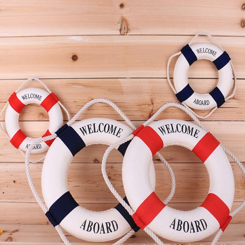 4Size Navy Mediteranean Sea Life Buoy Wall Stickers Hanging Lifebuoy For Bar Home Decor Props Nautical Life Ring Wedding Crafts(China (Mainland))