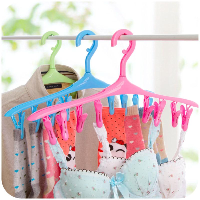 8 clamours windproof cord lock multifunctional hanger plastic clothes drying rack socks underwear racks(China (Mainland))