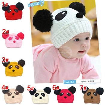 promotion ! 2015 NEW Panda shaped Lovely Boy  girl Hats,winter baby hat,Knitted caps children Keep warm hat 7 color gifts