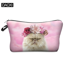 Travel Cosmetic Bag 2015 Hot-selling Women Brand Small Makeup Case 3D Printing  Christmas Gift Roses Cat BHZB40