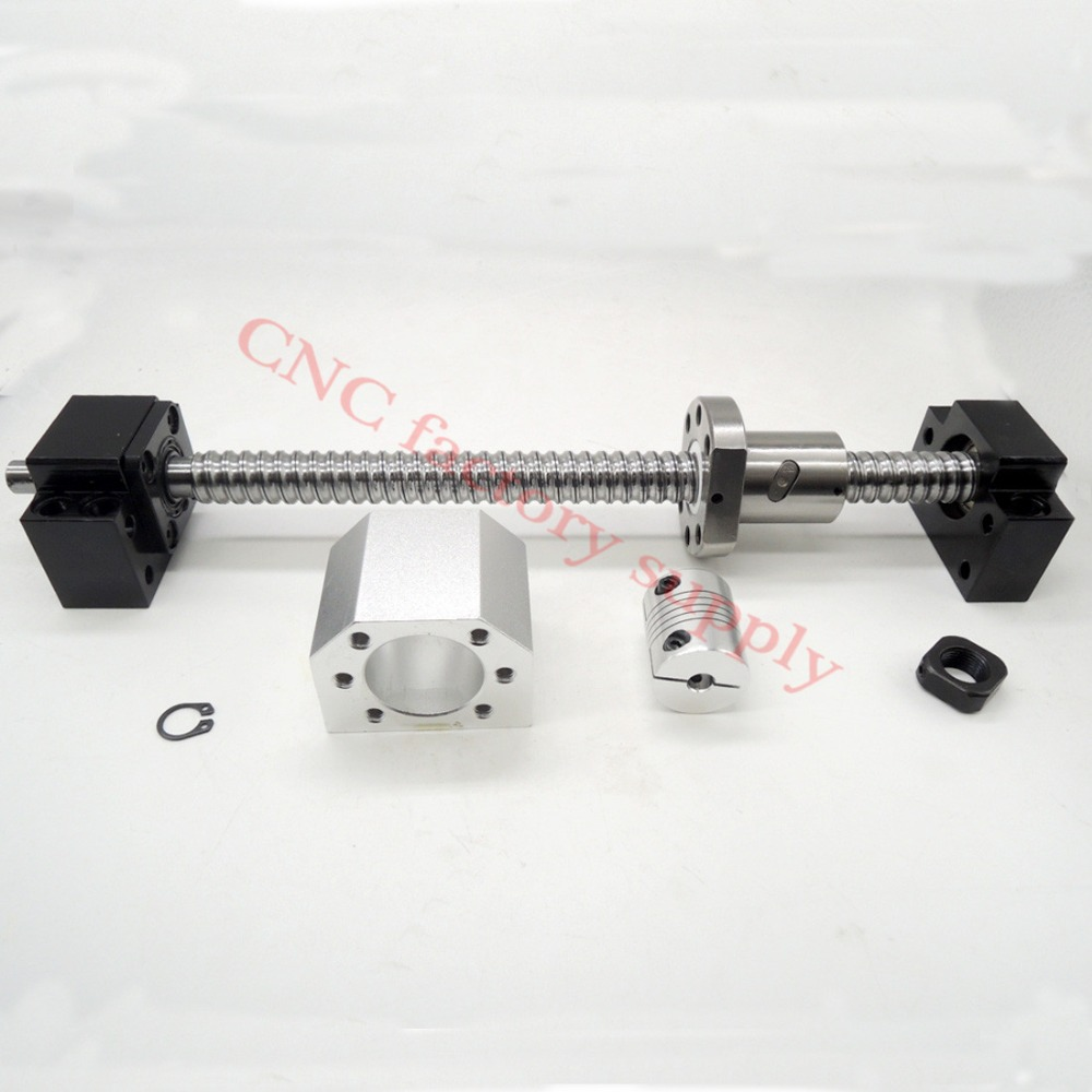 SFU1605 set:SFU1605 L300mm rolled ball screw C7 end machined + 1605 nut housing+BK/BF12 support coupler  -  CNC factory supply store