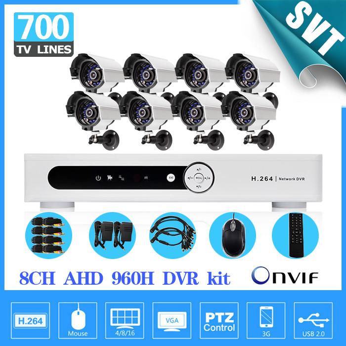 8 Channel CCTV DVR System 8pcs 700TVL Outdoor Warterproof security camera dvr kit AHD 960H recorder(China (Mainland))