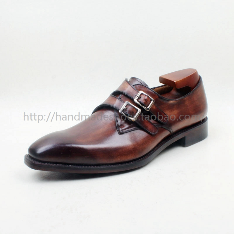 2016 Italia Goodyear Craft Genuine Calf Leather Mens Monk Straps Hand Made Shoes 1 Color - Dropshipping Low Price<br><br>Aliexpress