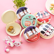Mini Cute Round Coin Purse Creative Key Wallet Pouch Bag Fashion Headset Package Earphone Organizer Storage Box Promotional Gift(China (Mainland))