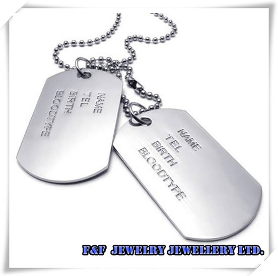 NEW Men's Silver Alloy Army Style 2pcs Name Dog Tag Frosting Pendant Necklace,Free shipping,N#42,Fashion Style(China (Mainland))