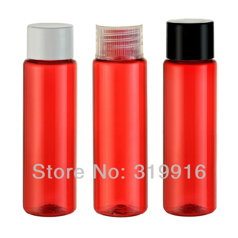 30ml X 100 empty small red plastic cap bottle , 1 oz sample cosmetic lotion container ,travel bottle set , cosmetic packaging(China (Mainland))