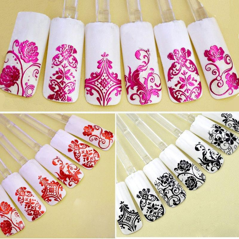 Top Nail 108 Design Gold Foil Flowers Stickers For Nails 6 Color Metal Bronzing Decal 3D Nail Art Sticker Tips Decorations JH125(China (Mainland))