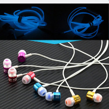 New Metal Glow In The Dark Earphone Mobile In-Ear Glowing Headphones For iPhone Samsung Xiaomi Neon Wired Led Headset Flashlight