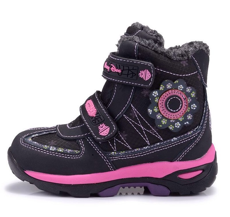 Top quality Outdoor Girls Winter Snow Boots Waterproof Children shoes Genuine leather fashion black princess Boots Size 26-31<br><br>Aliexpress