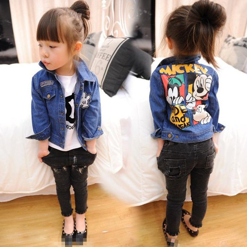 2016 Hot Kids Mickey Jacket Cardigans Spring Autumn Minnie Baby Boys Girls Denim Jackets And Coats Children Streewear(China (Mainland))