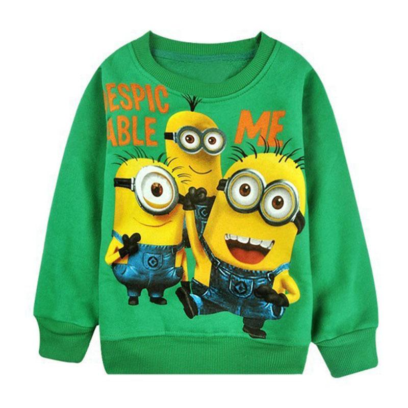 Гаджет  New 1pcs baby boys girl Cartoon design round minion collar fleece children wear Hoodies Sweatshirts Children