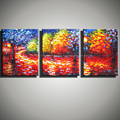 3 piece canvas wall art canvas pictures nature tree painting colorful landscape Knife oil painting for