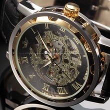 Black Gold Male Clock Men Relogios Skeleton Mens Watches Top Brand Luxury Montre Homme Leather Wristwatch Men Mechanical Watch