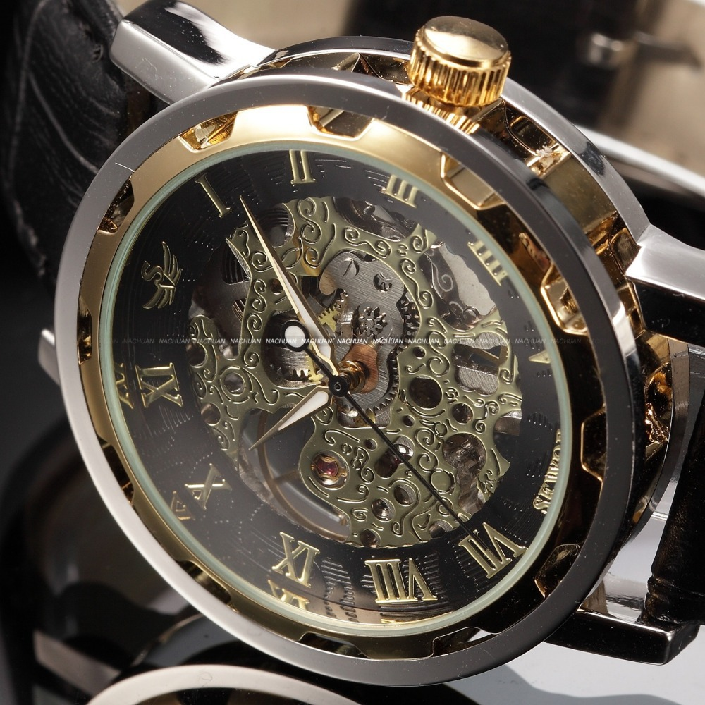 Black Gold Male Clock Men Relogios Skeleton Mens Watches Top Brand Luxury Montre Homme Leather Wristwatch Men Mechanical Watch(China (Mainland))