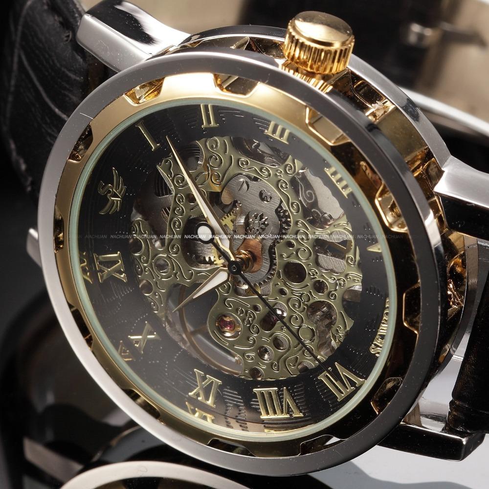 Black Gold Male Clock Men Relogios Skeleton Mens Watches Top Brand