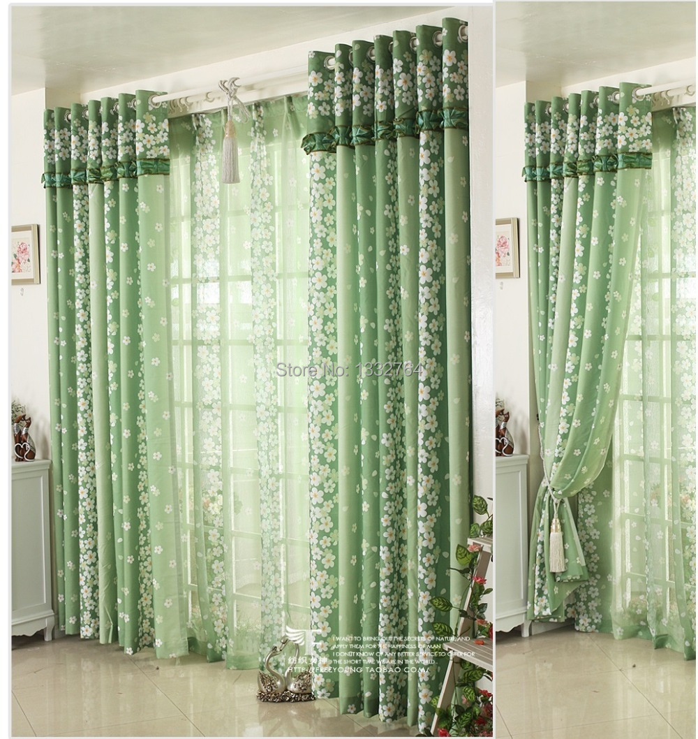 Rustic fabric small fresh eco friendly green curtain for for Fabrics for children s curtains
