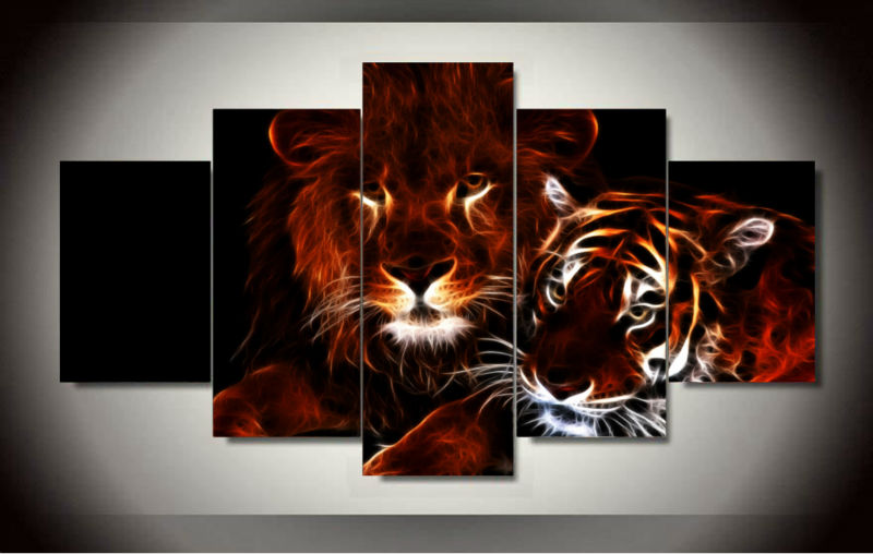 Wall art glowing lion and tiger picture Prints Canvas for room decor print canvas Wall Pictures unframed 5 pieces/set(China (Mainland))