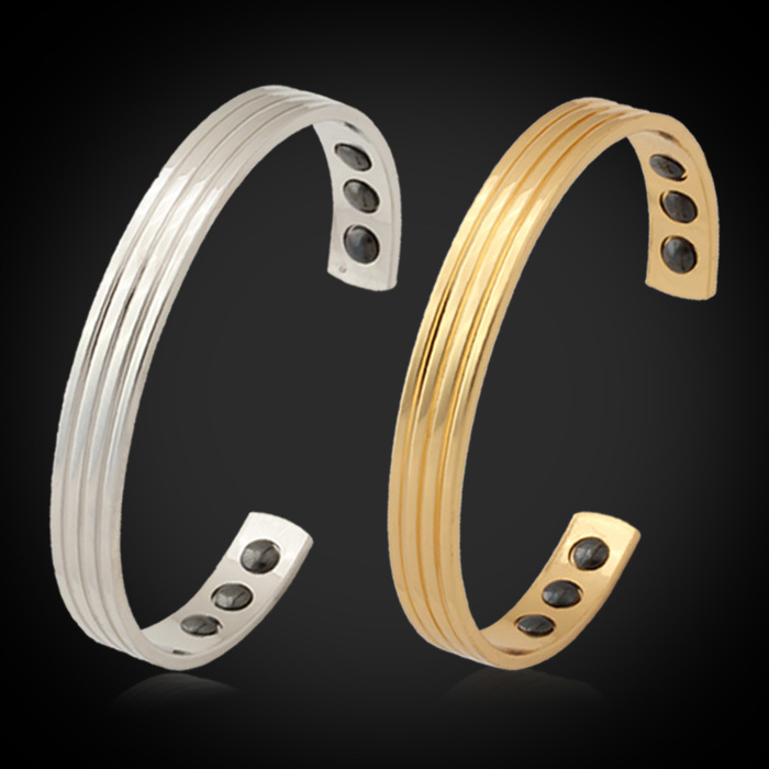 Trendy New Magnetic Enegy Stone Bracelet Men/ Women 18k Real Gold/platinum Plated Health Care Cuff Bracelets H421(China (Mainland))