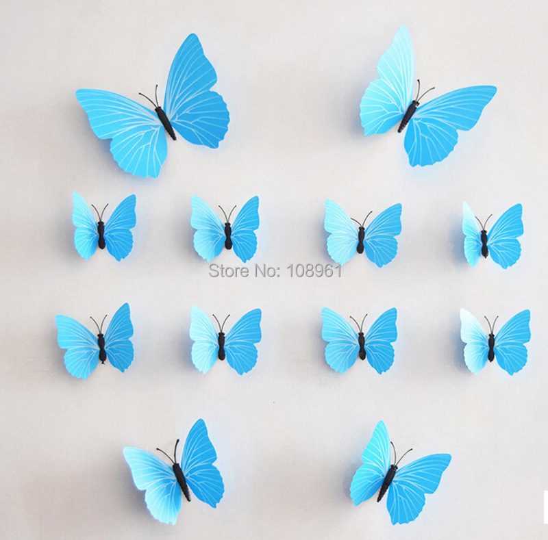 12 pcs 3d monochrome papillon stickers muraux avec adh sif for How to decorate a paper butterfly