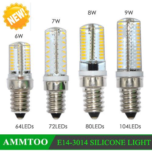 E14 led bulb 220v 6w 7w 8w 9w smd 3014 silicone body light 64leds 72leds 80leds 104leds candle Light replace hologen bulb(China (Mainland))