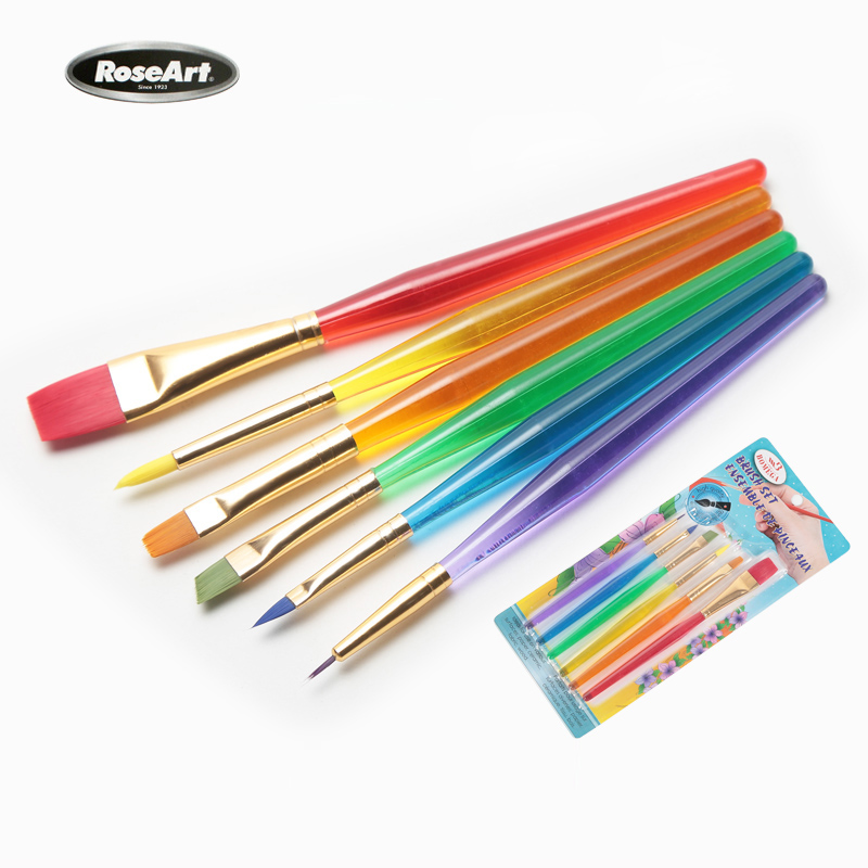 Bgln 10Sets Colorful Tip Nylon Child Paint Brushes Nail Brush Art Artist Supplies(China (Mainland))