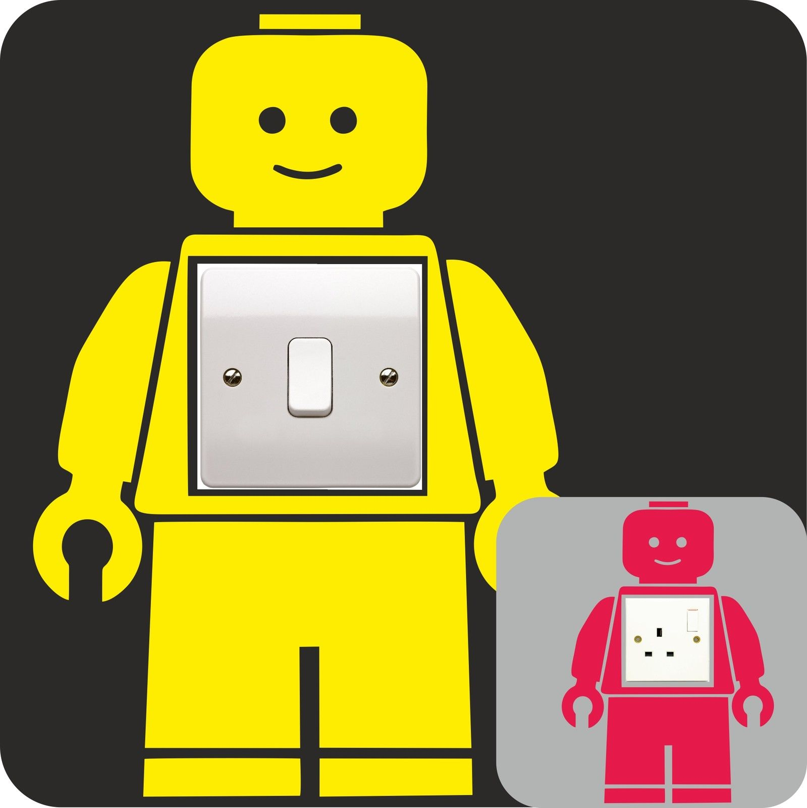 LEGO MAN vinyl decal LIGHT SWITCH PLUG SURROUND bedroom WALL sticker ART QUOTE kids bedroom DECOR(China (Mainland))