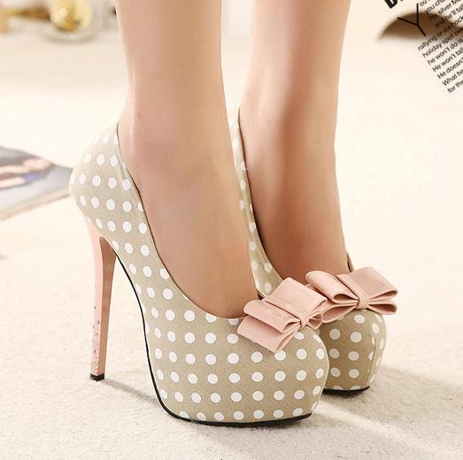2015 apricot Bowtie fascinating Slip-On beautiful women shoes cheap high heels platform shoes pumps women's pumps Bottom(China (Mainland))