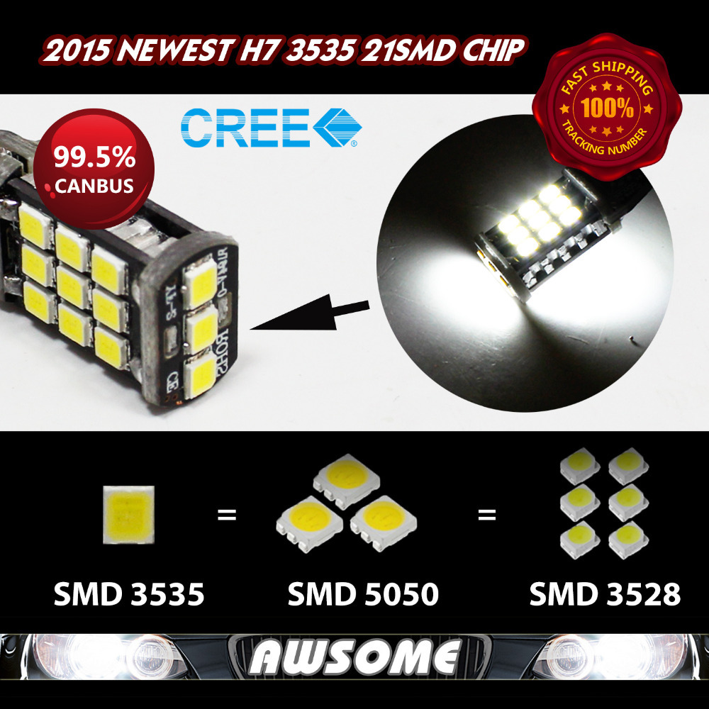 High Quality Guarantee!! 10x H7 CREE CANBUS 21SMD 3535 1200LM LED Car DRL Driving Fog Light Bulbs 12V DC White/Amber/Red/Blue(China (Mainland))