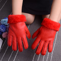 Genuine Leather Gloves for 4 8 year old Children Winter Warm Wool Fur Gloves Minttens Natural