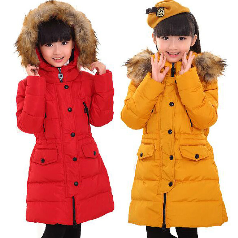 Winter 2015 girls children's clothing down warm jacket outerwear for girls kids clothes long fur jackets coats parkas chaquetas(China (Mainland))