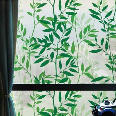 Bamboo Leaf Leave Tree Vinyl Static Cling Privacy Stained Glass bathroom Home Decor Decorative WF012W45 Privacy Window Film(China (Mainland))
