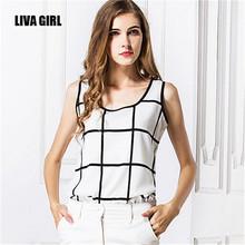 2015 NEW Fashion Women's Summer Loose Casual Plaid Chiffon Sleeveless Vest Shirt OL Blouse Tops(China (Mainland))