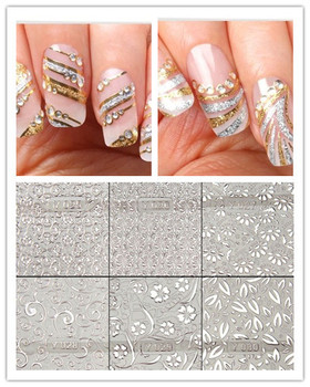 MS 4sheets silver Metallic Lace Design Nail Art Decal Hollow Sticker 24styles 3D Decal Manicure Decoration Accessories
