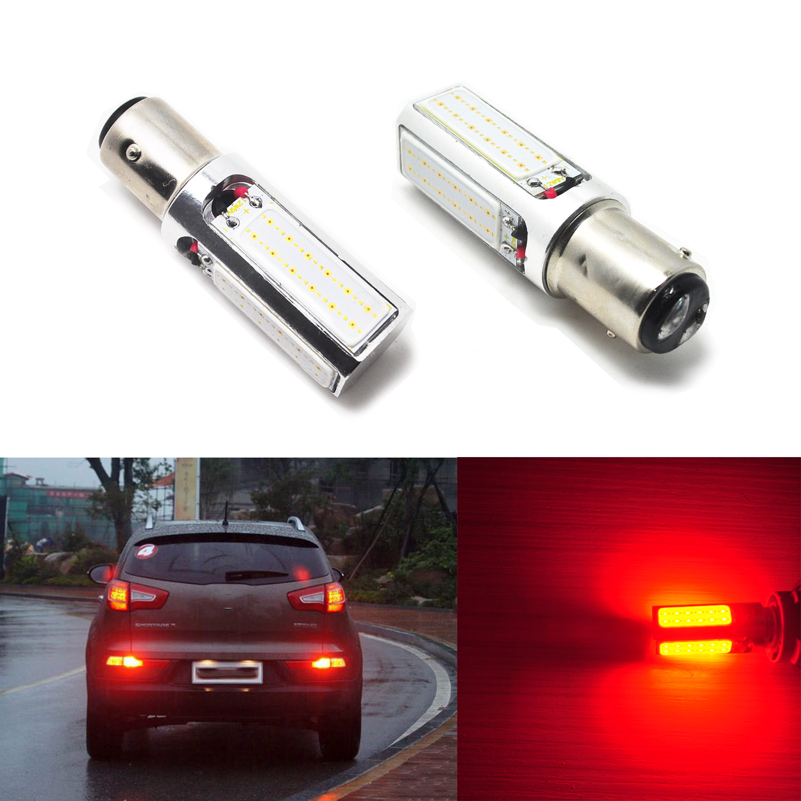 2pcs Car 1157 Pure Red 4-Chip COB Car LED Brake Stop Lights 20W High Power 2057 2357 1004(China (Mainland))