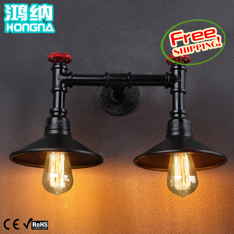 American vintage double slider water pipe wall lamp ofhead small personalized wall lamp<br><br>Aliexpress