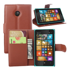 For Microsoft Nokia Lumia 435 Case Litchi Pattern Luxury Flip PU Leather Wallet Stand Cover With Card Slots For Nokia Lumia 435(China (Mainland))